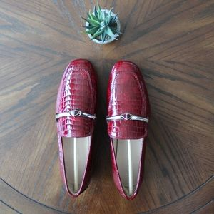 Kate Spade Wine Lana Croc-Embossed Leather Loafers